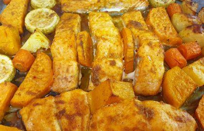 סלומון עם ירקות בתנור ותבשיל פסטה עם עדשים